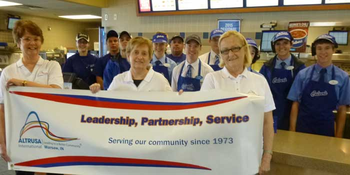 Altrusans Sue Creighton, Jeanine Knowles and Martie Lennane and Culver's team members