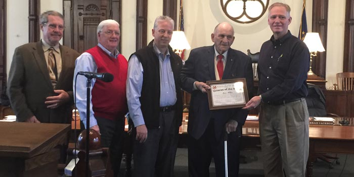 From left: Ron Truex, president; Bob Conley, board member; Rich Maron, veteran's affairs officer; Max Miller, veteran of the month and Brad Jackson, vice-president (Photo by Michelle Reed)