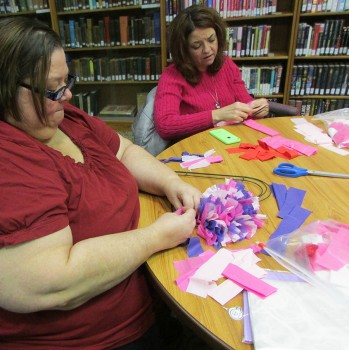 Shari Lambert and Shantel Keith work on their Heart Wreath at our latest adult craft night. Everyone had a great time and the wreaths were beautiful. Monday, March 14, is March's adult craft night. We will be making a muffin basket.
