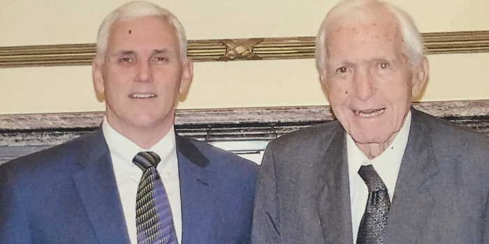 Governor Mike Pence stands alongside Indiana's 43rd Governor, Edgar D. Whitcomb, in the Governor's Office in 2013.