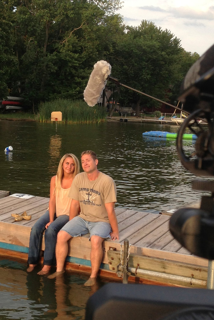 "Director, Ken Strong, right, and lead actress, Kristin Quick, left, film a sunset scene on Little Tippy Lake in North Webster for the independent film, ""My Elusive Mychele."""
