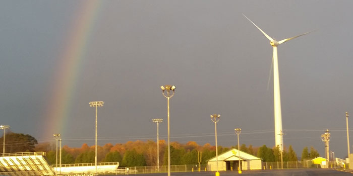 The Tippecanoe Valley School Corporation's wind turbine after a storm. (Photos provided)
