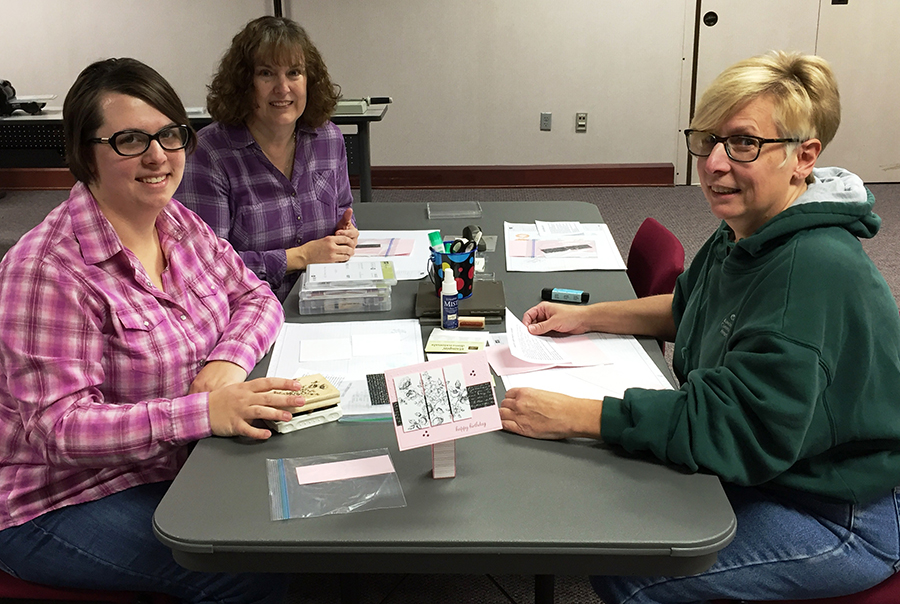 Make three cards with staff member Faith Ketterer at 6 p.m. Monday, March 28. A $4 nonrefundable deposit is required at registration, with an additional $4 due at time of class. Pictured is Kendra Thompson, Ketterer, and Amy Thompson.