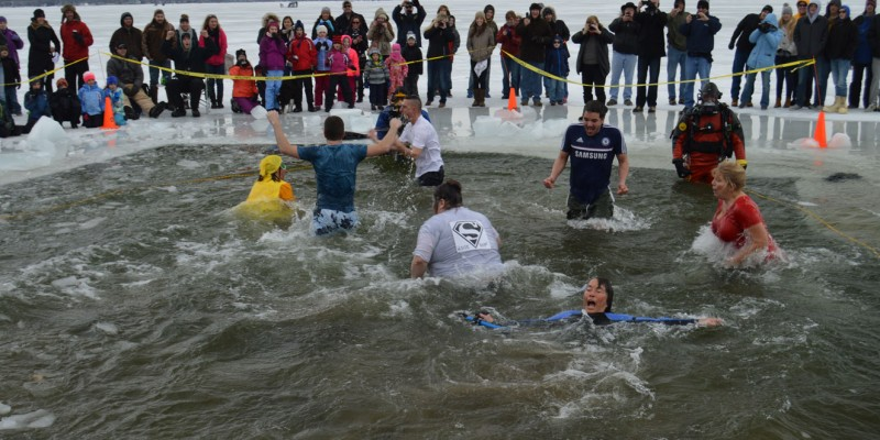 People at Polar Plunge in Syracuse, IN