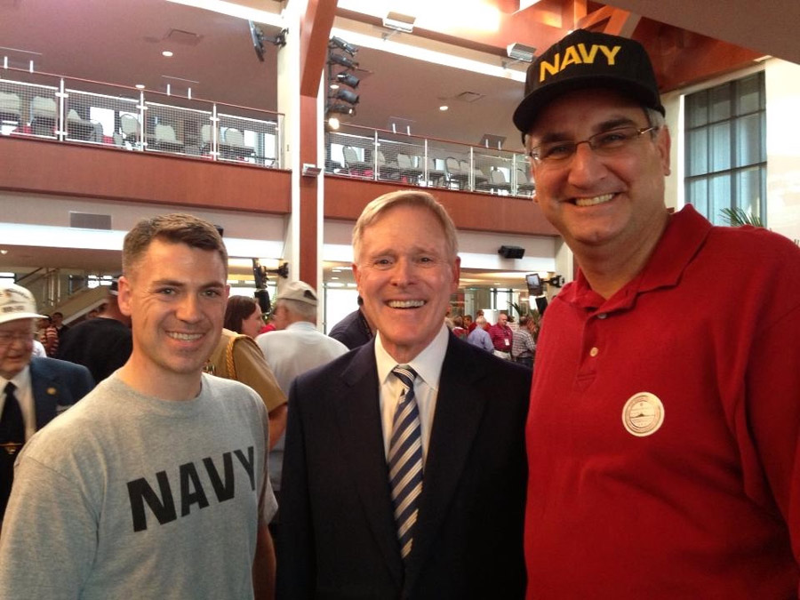 Sen. Jim Banks, left, and Eric Holcomb, right, are pictures with U.S. Navy Secretary Ray Mabus. (Photo provided)