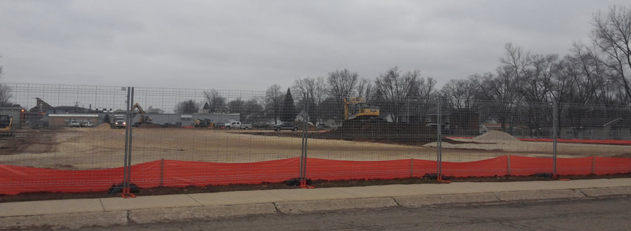 Earth work has begun on the new Lincoln Elementary School. Actual construction is not expected until March 1.