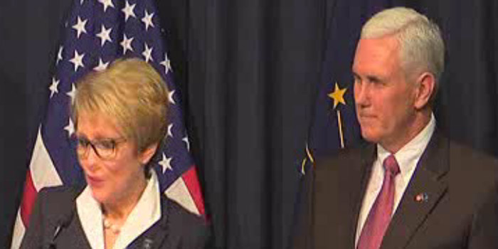 Lt. Gov. Sue Ellspermann speaks during today's press conference. Gov. Mike Pence is shown on the right.