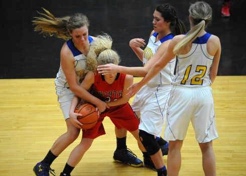 One of the key moments in the game was this foul on Triton's Charlotte Morris, her fourth with 0:00.4 left in the third quarter.