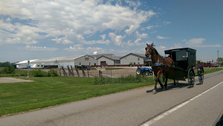Horse-drawn buggies are a familiar sight in Elkhart and LaGrange counties, where they travel on the shoulder alongside automobiles.