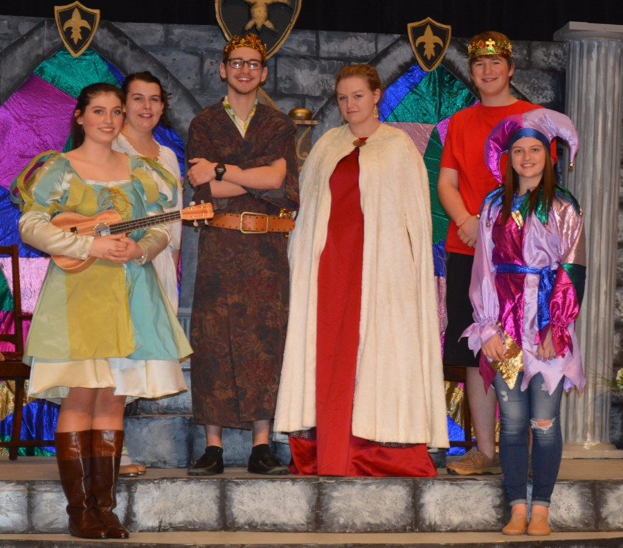 Some of the cast members for the spring theater production at Wawasee High School include, in front from left, Kara Schrock and Mercedes Winkleman. In the back row are Laura Stump, Justin Winkleman, Allyson Weaver and Rhett Coblentz.