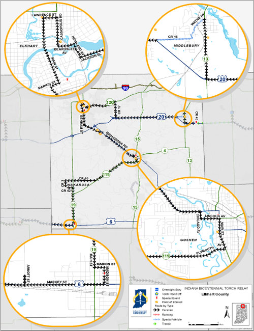 The Elkhart County Relay Route Will Enter The County Going West On Cr 43 And Leave The County Going West On Us 6