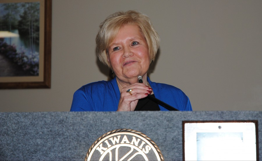 """North Webster Chamber of Commerce Person of the Year Karilyn Metcalf accepted her award with the advice, """"Give where you live."""""""