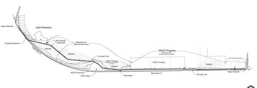 Construction drawings of the Conklin Bay Trail Segment by A&Z ngineering LLC and Earth-Source Inc., Fort Wayne.