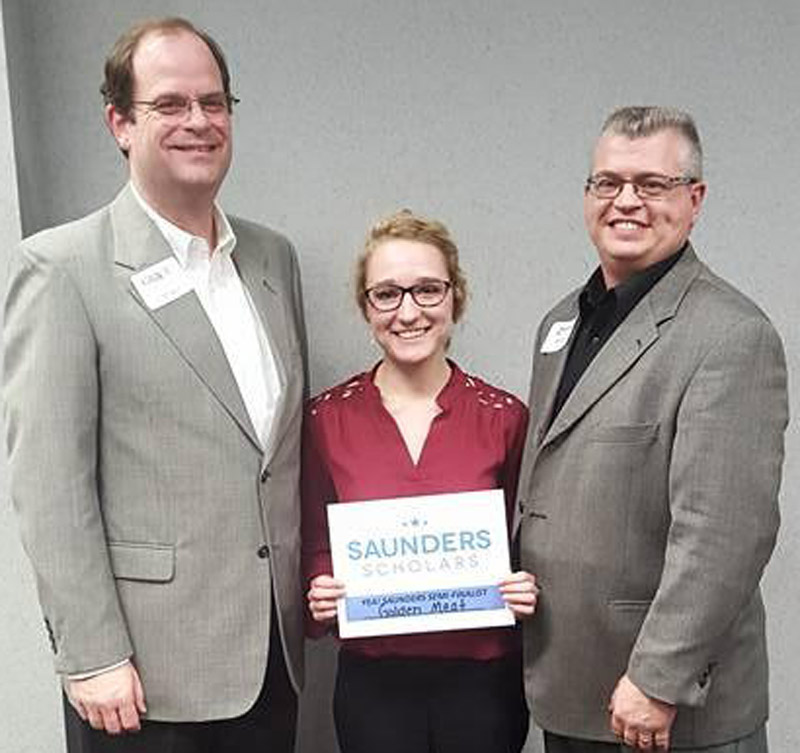 Karis Tucker will be going on to national competition following local presentation. Shown from left, are Dr. Jeff Fawcett, Grace College & Seminary, Dean of Business School; Tucker, Golden Meat, Owner; Rob Parker, President & CEO, Kosciusko Chamber of Commerce. (Photo provided)