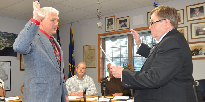 Winona Lake Town Marshal Joe Hawn being sworn in by Town Attorney James Walmer (Photos by Michelle Reed)