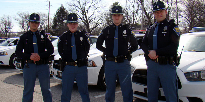 Shown are new troopers assigned to the toll road including Warsaw High School Graduate Matthew Drudge. From left are Troopers Ala'a Hamed, Drudge, Daniel Burkey and Brett Adair. (Photo provided)