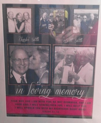 A collage paying tribute to LeDrew's father, Charlie Smith and her brother, Scott Smith, is displayed in the gallery.