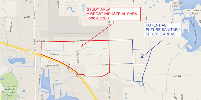 A map showing the study area for the Airport Industrial Park and potential future sanitary service areas.
