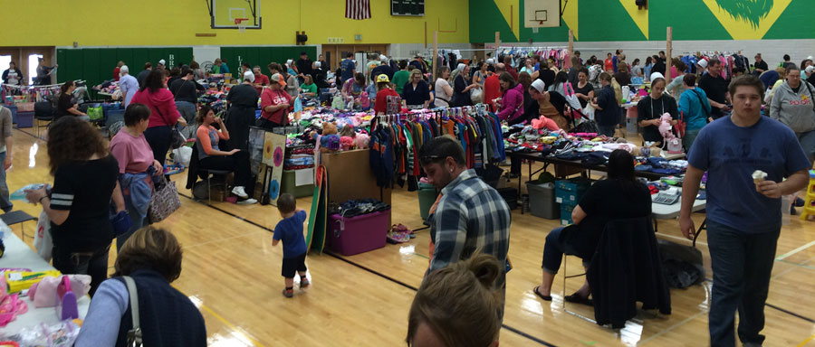 A previous Mom2Mom sale in the Bremen High School gymnasium.