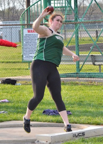 Wawasee's Katlyn Kennedy set a new school record in the shot put Tuesday night at Concord. (Photos by Nick Goralczyk)