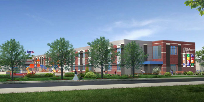 An artist's rendering shows what the new Lincoln Elementary School building will look like upon completion. (Image provided)