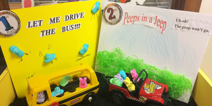 You all voted for your favorite Peep Dioramas and here are the results. Don't let the Peep Drive the Bus came in first and Peeps in a Jeep came in second. Thanks for coming in and voting.