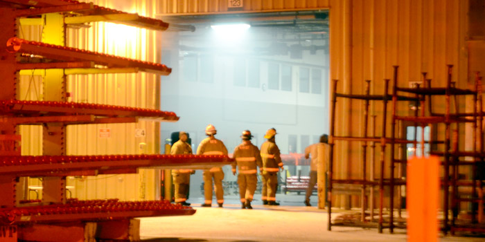A small fire was found at  Brook Manufacturing with the building containing smoke. (Photo by Deb Patterson)