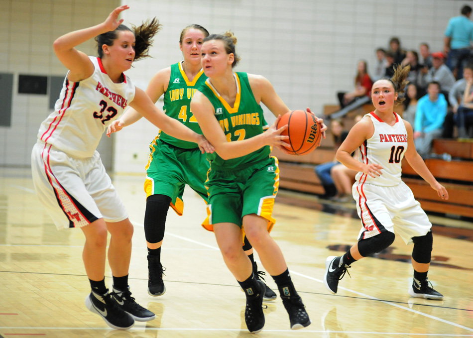 Tippecanoe Valley senior Brynda Krueger was a jack-of-all-trades for Tippecanoe Valley this past season, and signed on with Ancilla College to continue her hoops career. (File photo by Mike Deak)