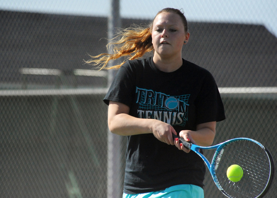 Triton No. 1 Shayla May volleys Wednesday at Tippecanoe Valley. (Photos by Mike Deak)