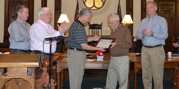 Byron Hunter receiving Veteran of the Month certificate. From left; Kosciusko County Commissioner President Ron Truex;  Commissioner Bob Conley; Veteran Affairs Officer Rich Maron; Byron Hunter, veteran of the month and Brad Jackson, vice-president (Photo by Michelle Reed)