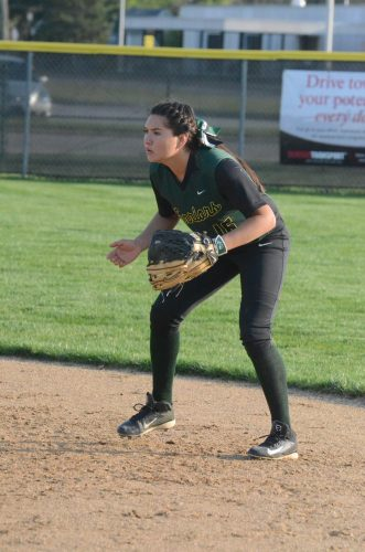 Second baseman Allissa Flores is on her toes on defense for the Warriors.