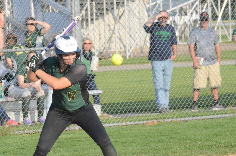 Meghan Fretz watches a pitch for Wawasee.