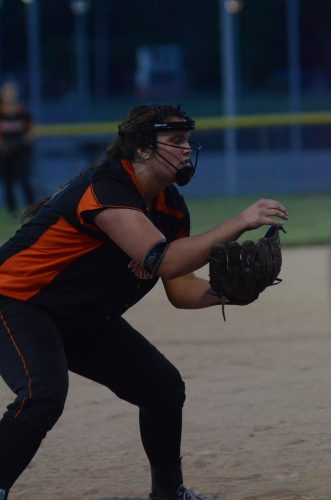 Third baseman Lauren Shaffner gets in position for the Tigers.