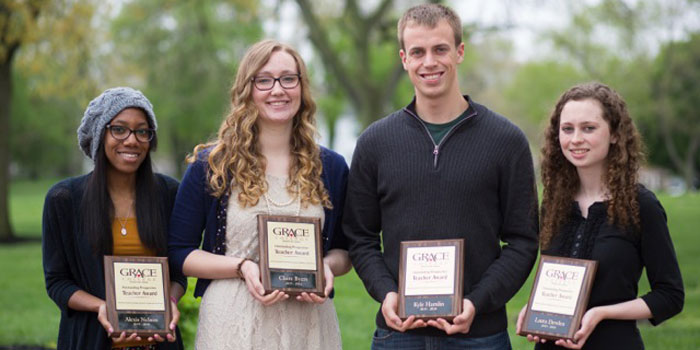 Pictured from left are Grace College 2015-2016 Outstanding Prospective Teacher Award winners: Alexis Nelson, Claire Byers, Kyle Hamlin and Laura Dewlin. (Photo provided)