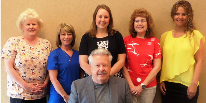 Pictured in front is Bob Jarboe, hospice spiritual counselor. In back are Jackie Snider,hospice nurse, Yvonne Beller, hospice nurse, Jeni Riley, hospice director, Rebecca Muncy, hospice nurse and Amy Kellar, medical social worker. (Photo provided)