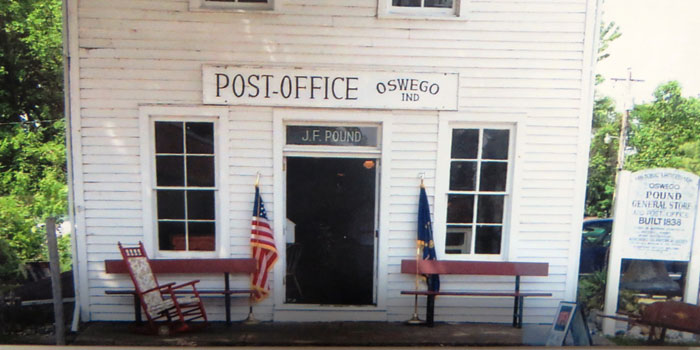 The front of the Pound Store Museum in Oswego.
