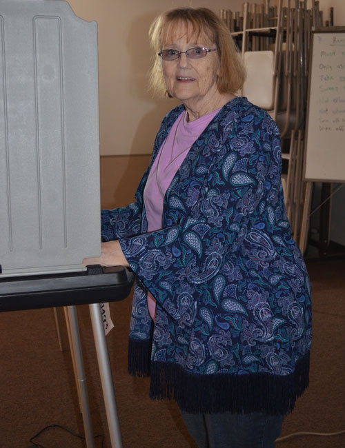 Bev Surface makes her voice heard at Mentone's town hall.