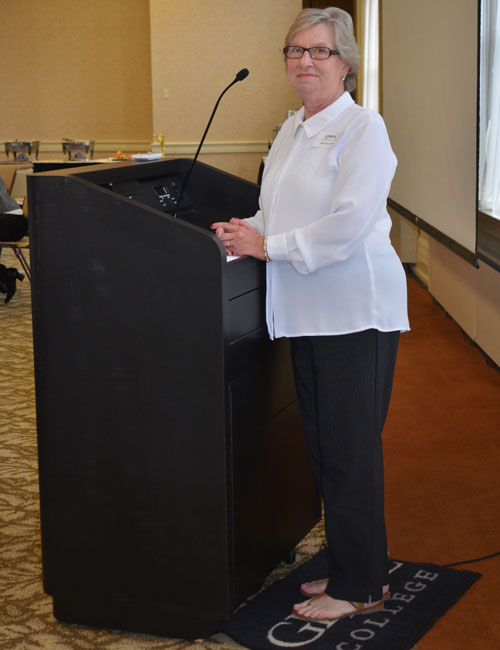 Bernita Smith spoke during Tuesday's REAL Services breakfast about her experiences as a caretaker. (Photo by Amanda McFarland)