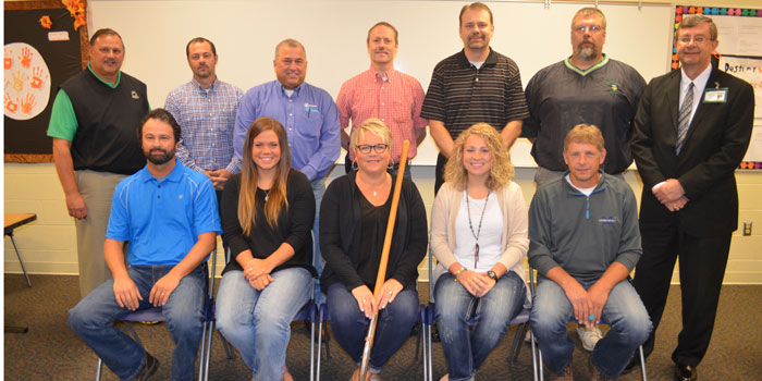 Pictured in front from left are Chad Brouyette, Began Bibler, Stephanie Bibler, Chelsea Bibler and Shaun Miller. In back are TVHS Athletic Director Duane Burkhart, TVSC board members Stan Miller, Bryan Murphy, Todd Glenn, TVHS Principal Blaine Conley and Jeff Shriver. (Photo by Amanda McFarland)