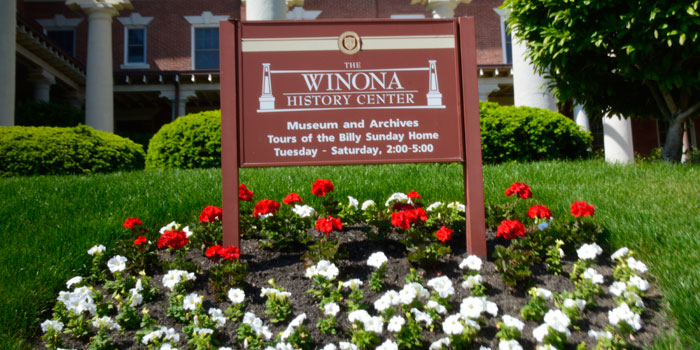 The sign for the Winona History Center.