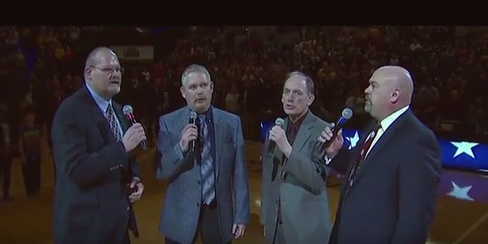 """Travel-Aires, from the Academy Awards nominated motion picture """"Hoosiers,"""" return to sing the Star Spangled Banner at the gym made famous in the motion picture"""