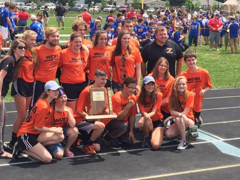 The WCHS Unified track team proudly displays their sectional championship trophy Saturday at Kokomo. The team earned a spot in the State Finals at IU on June 4 (Photo provided)