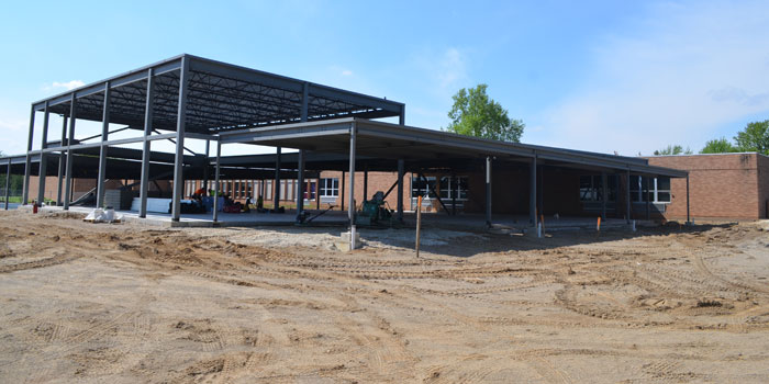The different components of Washington Elementary School's new addition are taking shape. At the far left is new classroom area. The tall portion is the new STEM lab and at the far right is the overhang to the new entrance. (Photos by Amanda McFarland)
