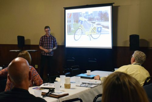 Warsaw native Dan Remington, who serves as the customer service manager for the Indianapolis Cultural Trail, attended the summit. He shared Indianapolis' success with their Cultural Trail and bike share program. (Photo by Maggie Kenworthy)