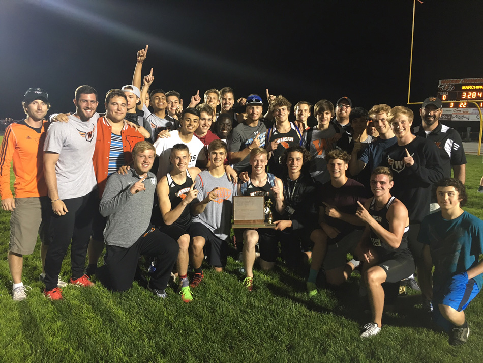 The Warsaw boys track team won its sixth straight Northern Lakes Conference team title Wednesday night. (Photo by Dave Anson)