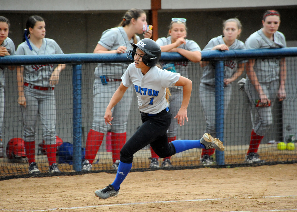 Triton's Taytum Hargrave motors around third to score her team's first run at the South Central Regional.