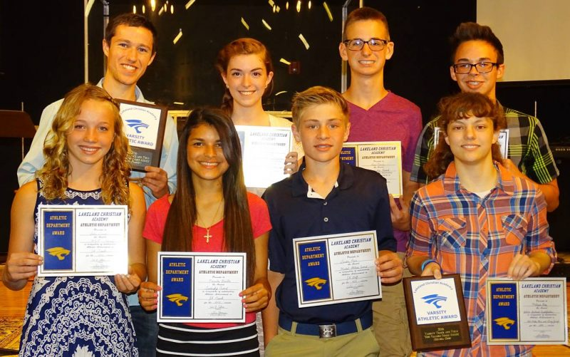 Lakeland Christian Academy honored athletes from its spring sports recently. In front (from left) are Sadie Lemon, Normita Bonilla, Landon Paris and Melissa Goss. In back are Alex Plastow, Carlie Wise, Sam Tuner and Matthew Helton. Not pictured is Luke Miller (Photo provided)