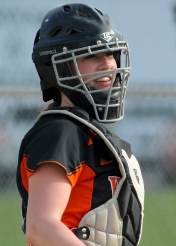 Grace Johnson has been an entertaining character not only in the dugout, but behind the plate.