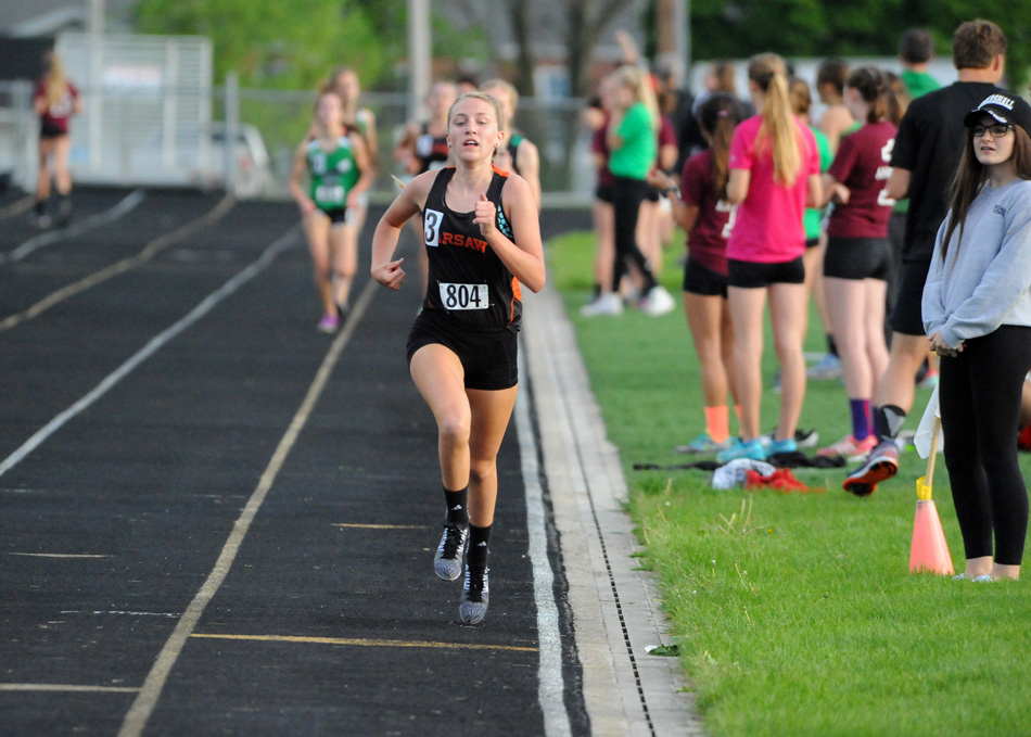 Warsaw's Mia Beckham was a standout champion in both the mile and two-mile at the Northern Lakes Conference Girls Track Championships, and should be a contender in both races at Tuesday's Warsaw Girls Track Sectional. (File photo by Mike Deak)