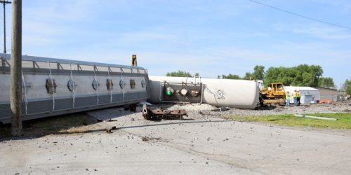 The train cars are still blocking the railroad at this point. (Photos by Maggie Kenworthy)